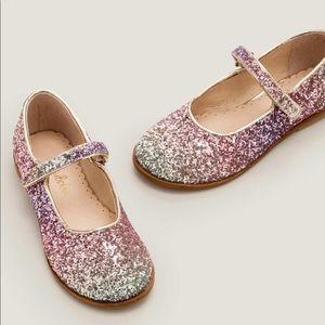 Mini Boden 🆕 Pink Ombré Glitter Mary Janes
